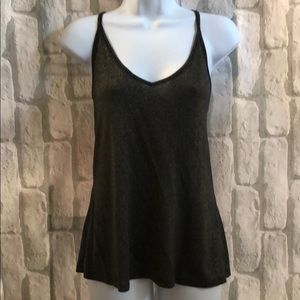 Black and Gold Sparkly Slinky Sexy Tank Top Med